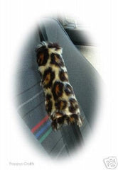 Leopard print faux fur car seatbelt pads 1 pair - Poppys Crafts