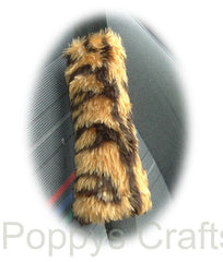 Gold Tiger Stripe Fuzzy Seatbelt Pads 1 Pair