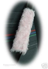 1 pair of cute fuzzy baby pink faux fur car seatbelt pads furry and fluffy - Poppys Crafts  - 2