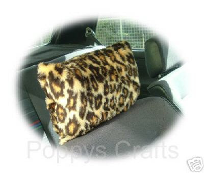 Gorgeous leopard print fuzzy faux fur car headrest covers - Poppys Crafts