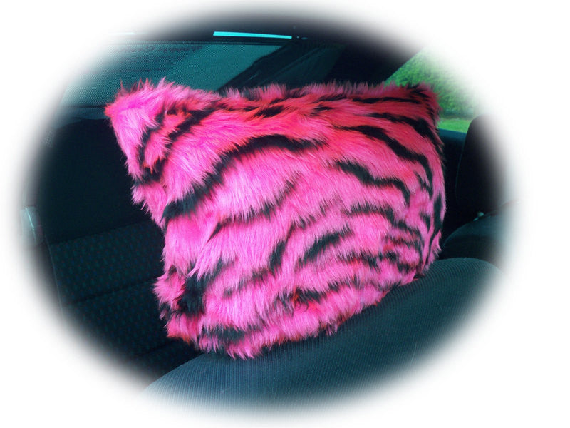 Pink and black fuzzy faux fur tiger stripe headrest covers - Poppys Crafts
