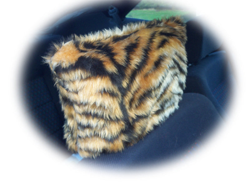 Gold tiger stripe faux fur fuzzy car headrest covers wild thing - Poppys Crafts