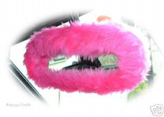 Barbie pink cute faux fur rear view interior car mirror cover - Poppys Crafts  - 2
