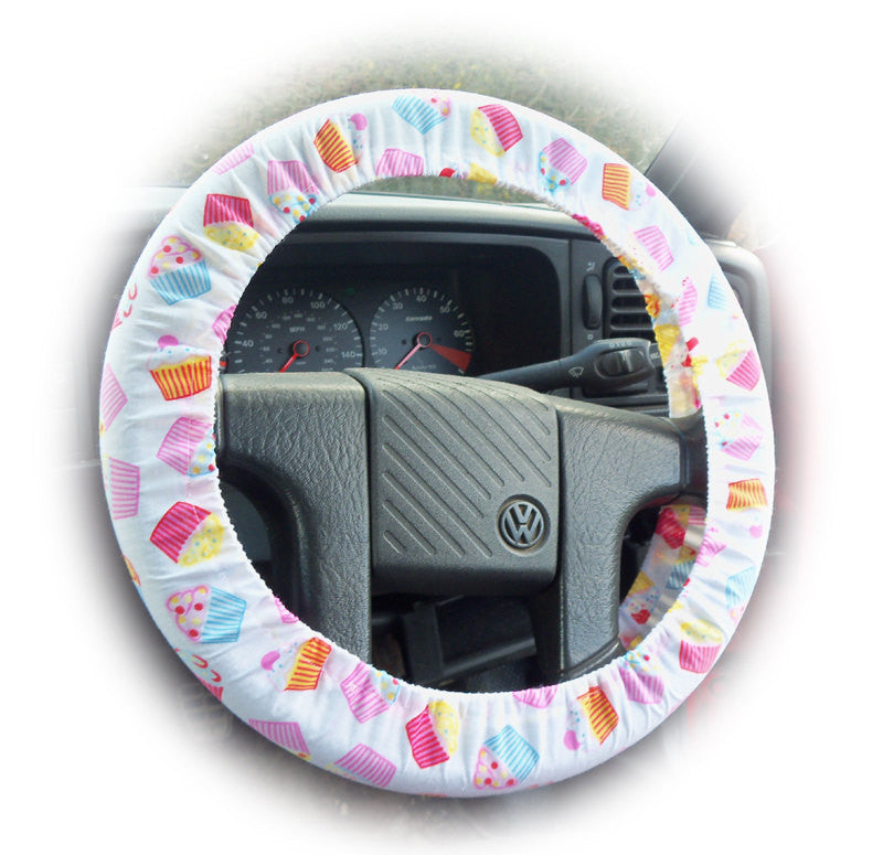 Cute Cupcake print cotton car steering wheel cover Delicious - Poppys Crafts