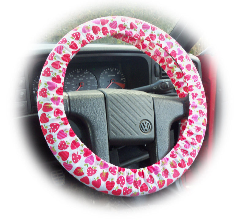 Pink and Red Strawberry print Cotton car steering wheel cover - Poppys Crafts