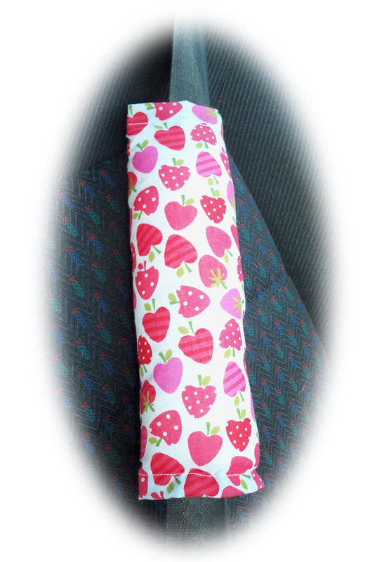 Strawberry print pink and red cotton seatbelt pads 1 pair - Poppys Crafts