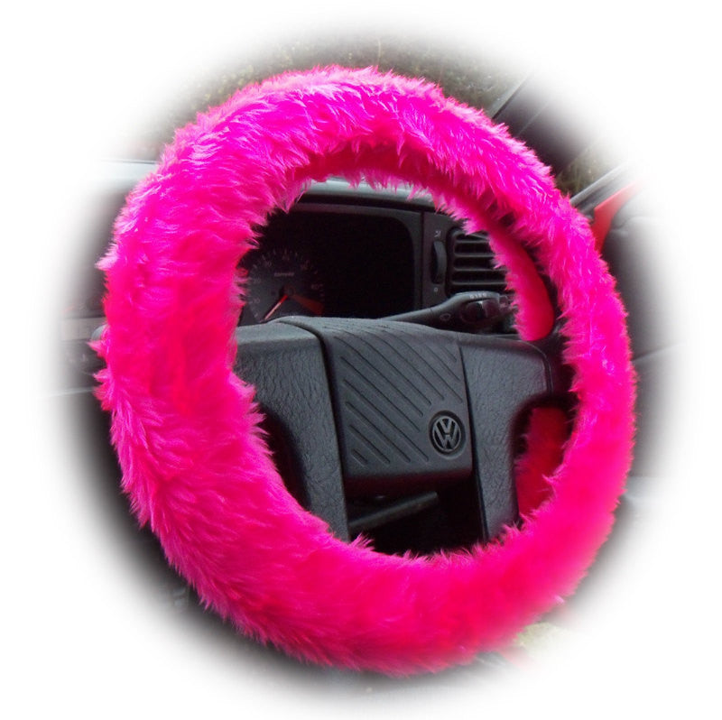 Furry Fuzzy Barbie Pink fluffy steering wheel cover Hot pink faux fur girly girl cute car accessories - Poppys Crafts  - 1