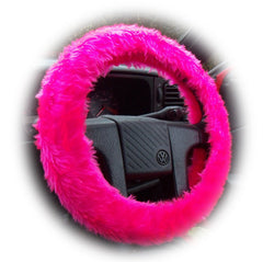 Barbie Pink fuzzy steering wheel cover with cute matching rear view mirror cover - Poppys Crafts