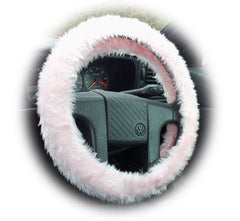 Pretty Baby pink fluffy Steering wheel cover and matching fuzzy seatbelt pads faux fur Girly girl Cute car accessories - Poppys Crafts  - 2