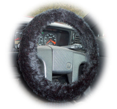 Black fuzzy faux fur car steering wheel cover