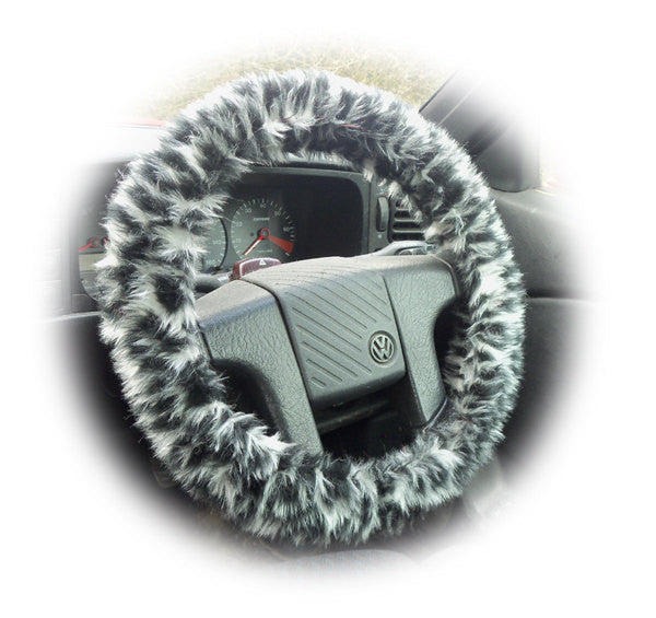 Pretty Snow leopard fuzzy faux fur car steering wheel cover furry animal print like cheetah - Poppys Crafts  - 1