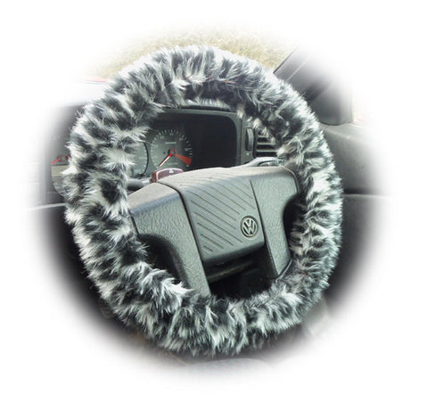 Snow leopard fuzzy faux fur car steering wheel cover