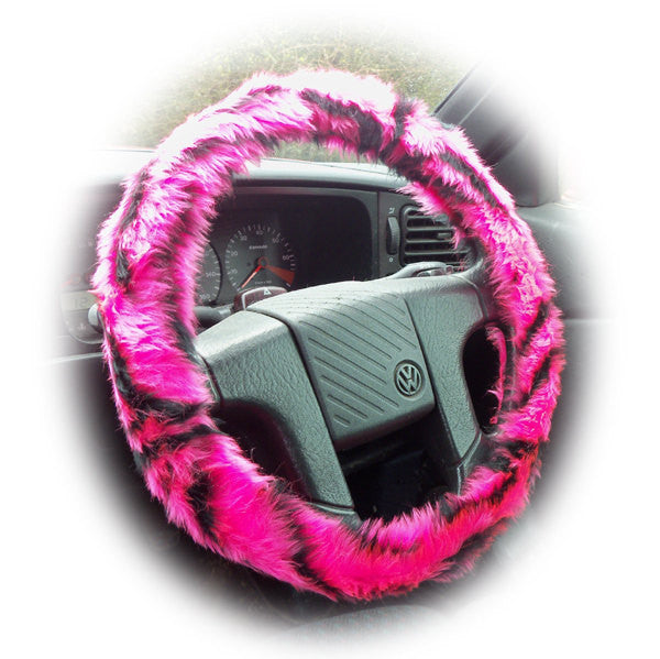 Pretty faux fur Pink and black tiger stripe fuzzy car steering wheel cover fluffy and furry - Poppys Crafts  - 1