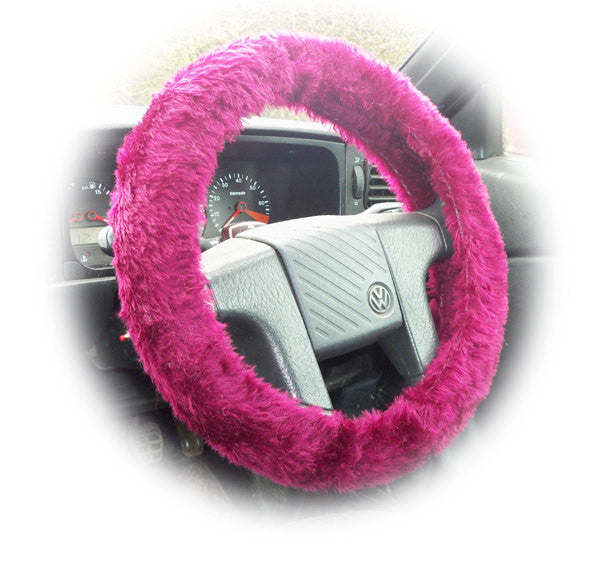 Burgundy red fuzzy faux fur car steering wheel cover - Poppys Crafts