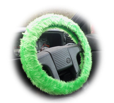 Bright Lime Green fuzzy faux fur car steering wheel cover