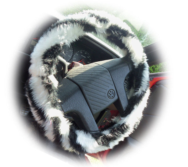 Black and white faux fur Zebra Stripe fuzzy car steering wheel cover - Poppys Crafts