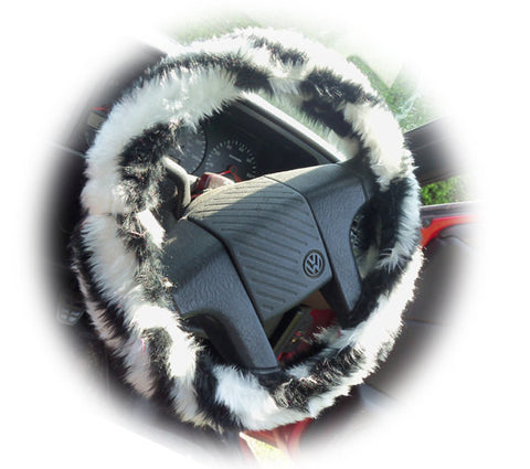 Black and white faux fur Zebra Stripe fuzzy car steering wheel cover