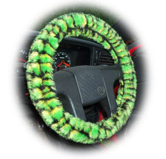 Green Crocodile Print Fuzzy Car Steering Wheel Cover