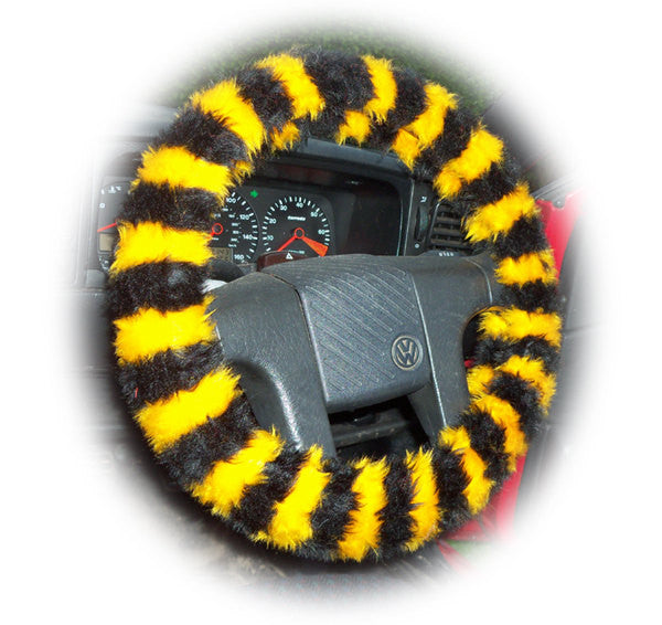 Busy Bumble Bee striped fuzzy faux fur car steering wheel cover - Poppys Crafts