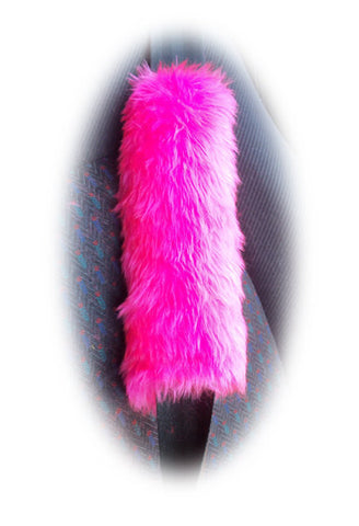 Barbie pink fuzzy faux fur car seatbelt pads