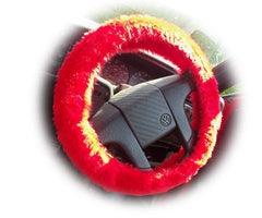 Racing Red fuzzy faux fur car steering wheel cover - Poppys Crafts
