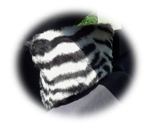 Zebra stripe black and white faux fur fuzzy car seat headrest covers - Poppys Crafts