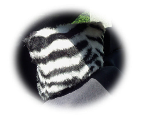 Zebra stripe black and white faux fur fuzzy car seat headrest covers