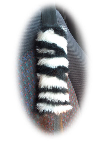 Zebra print fuzzy car seatbelt pads black and white stripe 1 pair