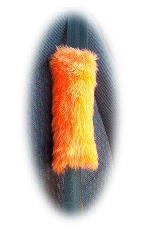 1 pair of Fuzzy faux fur Orange car seatbelt pads furry and fluffy