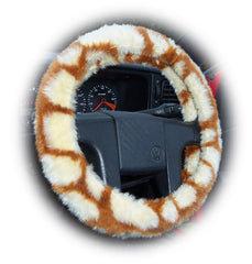 Giraffe print fuzzy faux fur car steering wheel cover Cute - Poppys Crafts