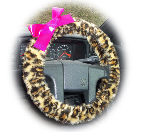 Leopard print fuzzy car steering wheel cover with Barbie Pink satin bow
