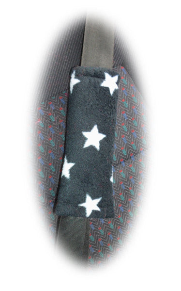 Black & white Star print fleece seat belt covers 1 pair - Poppys Crafts
