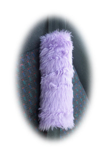 Pretty faux fur fuzzy Lilac car seatbelt pads 1 pair