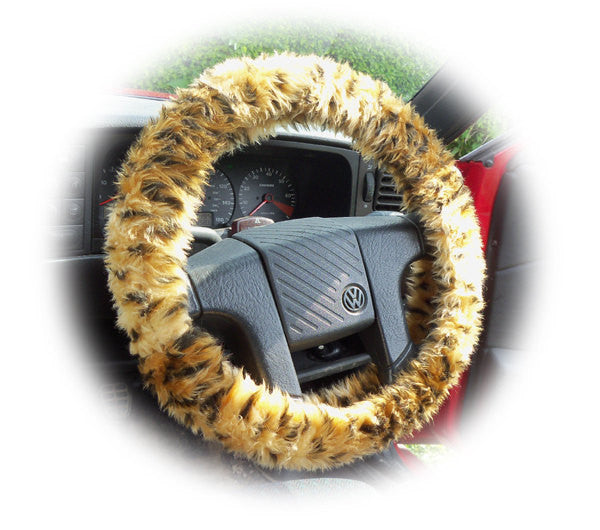 Cheetah print fuzzy car steering wheel cover - Poppys Crafts  - 1