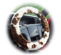 Brown and cream Cow print fuzzy car steering wheel cover - Poppys Crafts  - 1