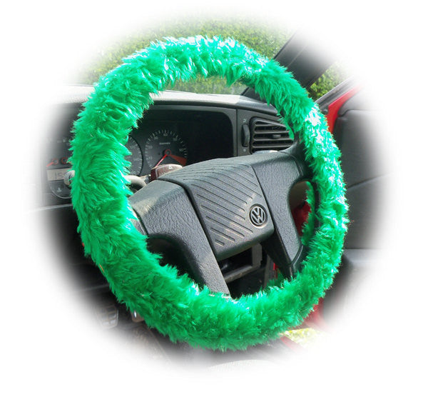 Emerald Green fuzzy faux fur car steering wheel cover - Poppys Crafts