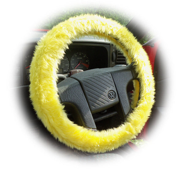 Yellow fuzzy faux fur car steering wheel cover - Poppys Crafts  - 1