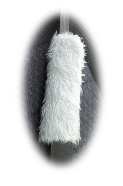 Light Silver Grey Fuzzy Faux Fur Car Seatbelt Pads 1 Pair