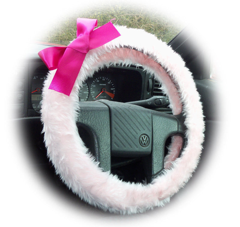 Baby Pink fuzzy faux fur car steering wheel cover with Barbie pink satin Bow cute fluffy - Poppys Crafts