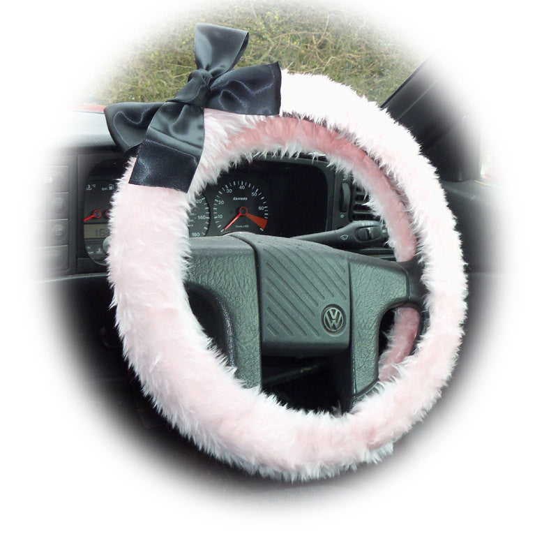 Cute and pretty fluffy Baby Pink faux fur fuzzy car steering wheel cover with black satin Bow - Poppys Crafts