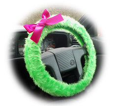 Bright Lime Green fuzzy car steering wheel cover faux fur with Barbie Pink satin Bow cute and fluffy - Poppys Crafts