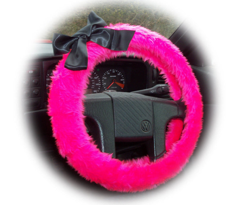 Barbie Pink fluffy faux fur car steering wheel cover with Black satin Bow - Poppys Crafts