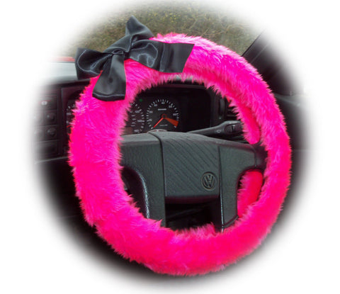 Barbie Pink fluffy faux fur car steering wheel cover with Black satin Bow