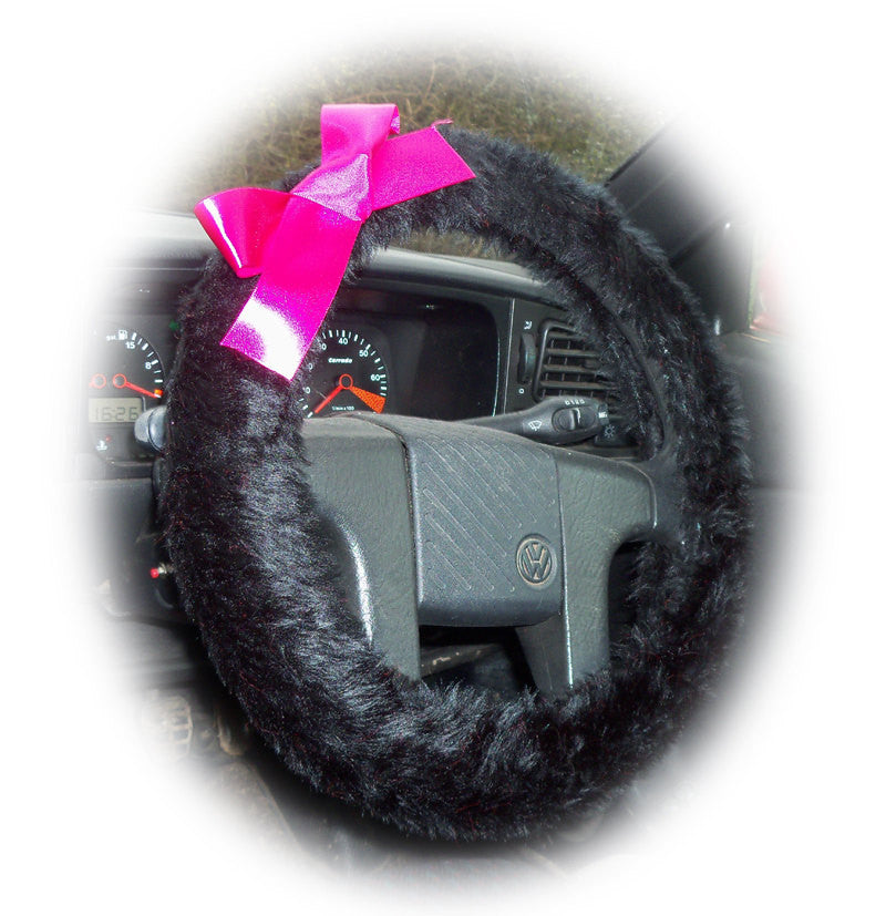 Pretty Black fluffy faux fur car steering wheel cover with Pink satin Bow fuzzy - Poppys Crafts  - 1