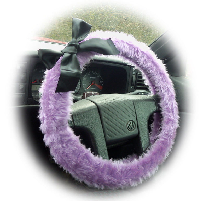 Lilac fuzzy car steering wheel cover faux fur wth Black satin Bow cute and fluffy - Poppys Crafts