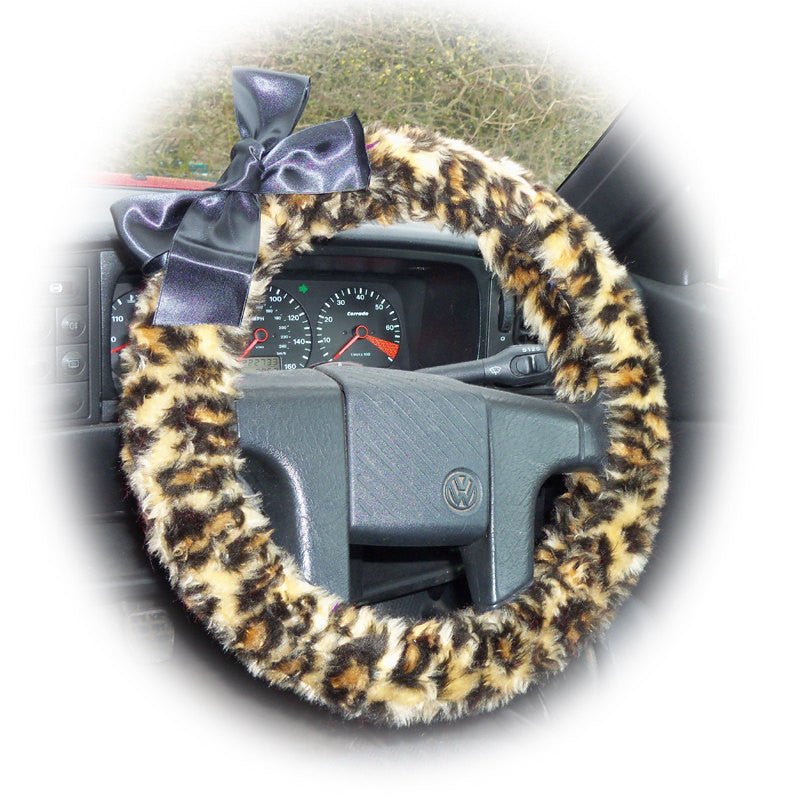 Leopard print fuzzy steering wheel cover with Black satin Bow - Poppys Crafts