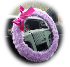 Pretty lilac fuzzy car steering wheel cover with Barbie Pink Satin Bow cute and fluffy - Poppys Crafts