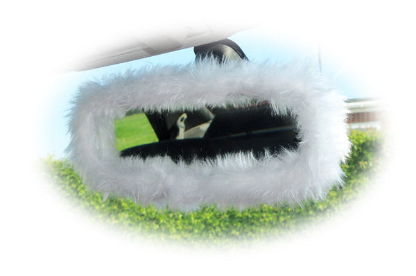 Pretty fluffy White faux fur rear view mirror cover cute fuzzy and furry - Poppys Crafts