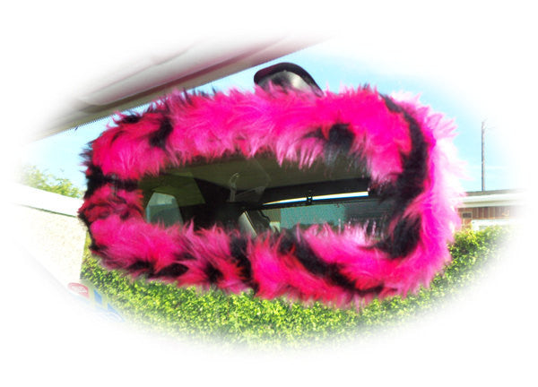 Pink And Black Tiger Print Fuzzy Rear View Mirror Cover