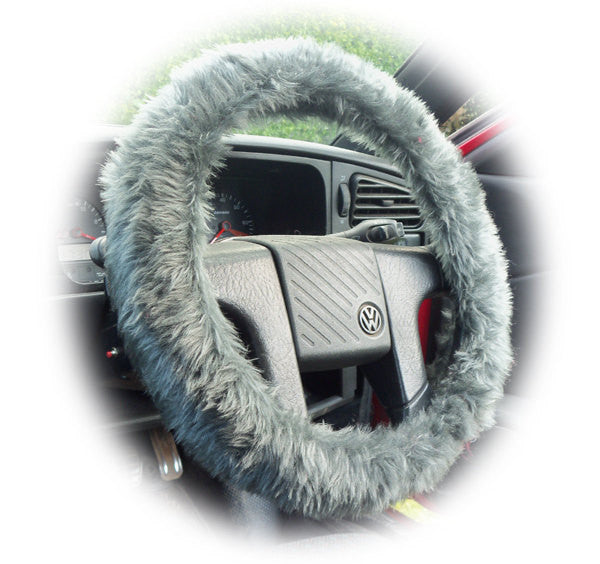 Fuzzy Dark Grey furry faux fur car steering wheel cover - Poppys Crafts